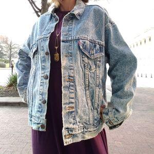 80s Levi Strauss Acid Washed Jean Jacket lgt blue